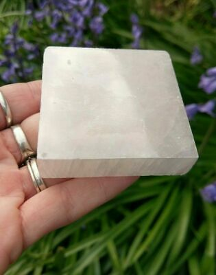 """1 (ONE) SELENITE """"Charging Plate"""" Square Crystal Reiki Charged Stone *READ*"""