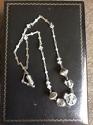 VINTAGE ART DECO 1930s CLEAR CRYSTAL GLASS BEADS NECKLACE BRIDAL On Chain 43cm