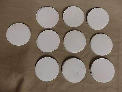 """Lot of 52, 1.5 Pounds of Teflon Discs 3"""" Diameter 1/32 to 1/16 thick NEW"""