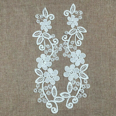 Pair Flower Venise Trim Embroidered Polyester Guipure Lace Motif Appliques White