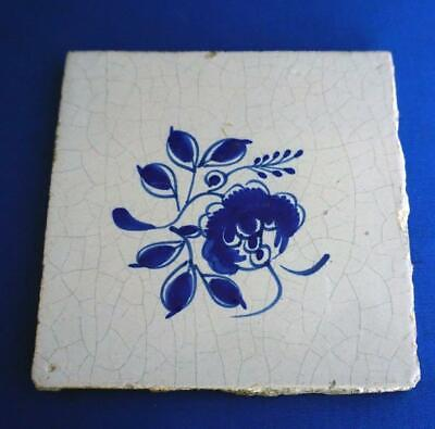Antique Delft Pottery Ceramic Blue and White Wall Tile
