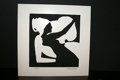 1970 Serigraph Optical Illusion Black & White Art signed Limited Edition 64/200