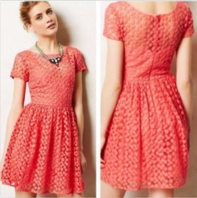 Artelier Nicole Miller Coral Lace Overlay Short Sleeve Dress size 4