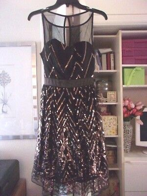 Gorgeous RUBY ROX Gold Sequins/Black Chiffon Party Dress-Juniors-Size 7-NEW-$59