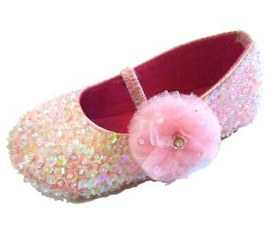 COASTAL PROJECTIONS 6 Light Pink Iridescent Sequin Ballerina Toddler Girls Shoes