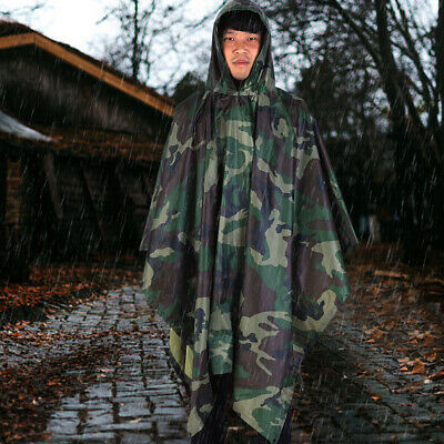 Impermeable Army Con Capucha Ripstop Festival Lluvia Poncho Militar Camping Pase
