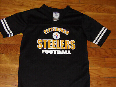 New Nfl Team Apparel Pittsburgh Steelers Short Sleeve Black Jersey Boys Size 6-7 Fan Apparel & Souvenirs Tops, Shirts & T-shirts