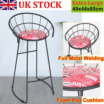 2X 75cm Vintage Metal Wooden Kitchen Pub Industrial Retro Wood Seat High Stools