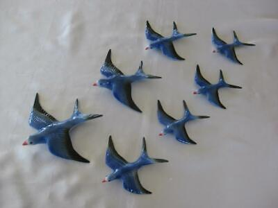 Ceramic Flying Wall Hanging Swallows X 7 - Retro Style (S701)