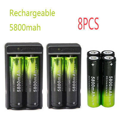 8X 5800mAh 18650 Battery 3.7V Rechargeable Batteries Smart Charger Skywolfeye