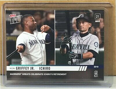 f6f4bb8689 2019 Topps Now #8 Ken Griffey Jr Ichiro Mariners Greats Celebrate Print Run  1916