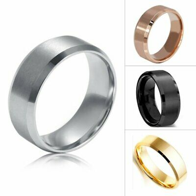 8MM Titanium Men Women Stainless Steel Band Brushed Wedding Rings