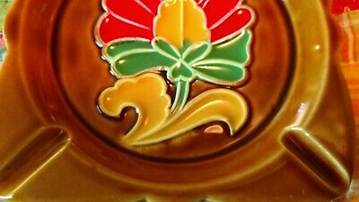 Vtg Lot Of 2 JAPAN ASHTRAY Floral FLOWER POWER 60's