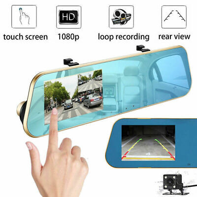 1080P Touch 4.3'' HD Dual Lens Car DVR Rear View Mirror Video Camera Recorder UK
