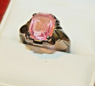 Art Deco 10K Gold & Sterling Signed Clark & Coombs Ring Pink Stone Tourmaline?