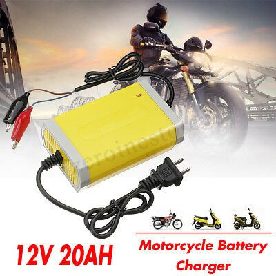 Smart Motorcycle Automatic Car Battery Trickle Charger 12V 2A 20Ah Maintainer