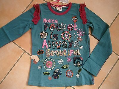 (166) Nolita Pocket Girls Langarm Shirt + Logo Stickerei + Druck & Besatz gr.128