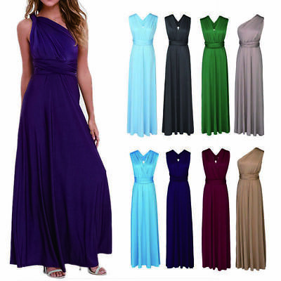 Lady Sleeveless Long Dress Multi Way Wrap Bridesmaid Formal Evening Party Gown