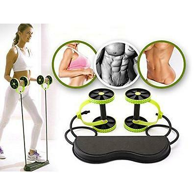 Double Wheels Ab Roller Pull Rope&Mat Abdominal Waist Slimming Exercise Gym Tool