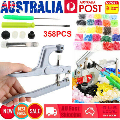 350 Set DIY Craft KAM Snaps T5 Snap Starter Plastic Poppers Fasteners + Pliers