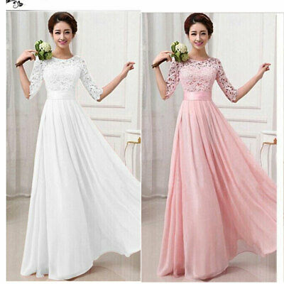 UK Ladies Long Lace Dress Evening Formal Party Prom Wedding Bridesmaid Ball Gown