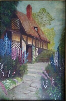 Early XX Century English School: 'Thatched Cottage and Garden' Oil on Board Unsi