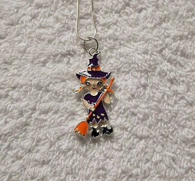 Cartoon WITCH Inspired Large Charm NECKLACE 20 Inch Snake Chain Halloween
