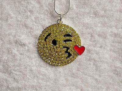 EMOJI MOVIE Inspired Large Charm NECKLACE + Rhinestones