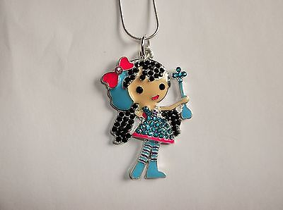 CUTE GIRLY Inspired Large Charm NECKLACE + Rhinestones Princess Wannabe BLUE