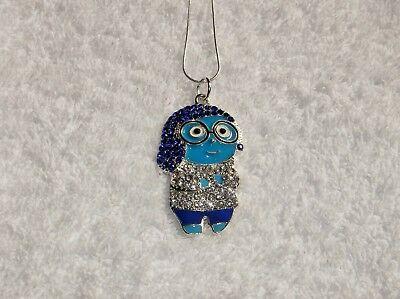 INSIDE OUT MOVIE Inspired Large Charm NECKLACE + Rhinestones SADNESS