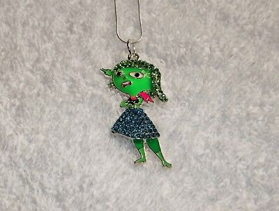 INSIDE OUT MOVIE Inspired Large Charm NECKLACE + Rhinestones DISGUST