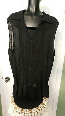 2b83e025374 Womens Fashion Bug 3X Button Down Sleeveless Blouse Top Tunic Black Pleated