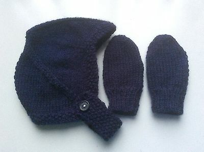Hand Knitted Baby Hat / Helmet & Mitts - Birth To 3 Month Navy Blue