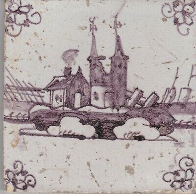 Delft Tile 18th - 19th century   (D 7)   church on an island with boats