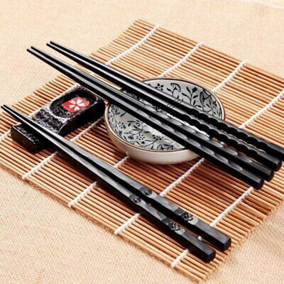 1 Pair Japanese Chopsticks Alloy Non-Slip Wood Color Sushi Chop Sticks Set RY