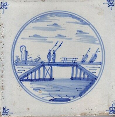 Delft Tile 18th - 19th century   (D 34)         People on a bridge