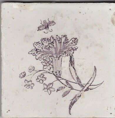 Delft Tile 18th - 19th century   (D 54)       Bee and flower