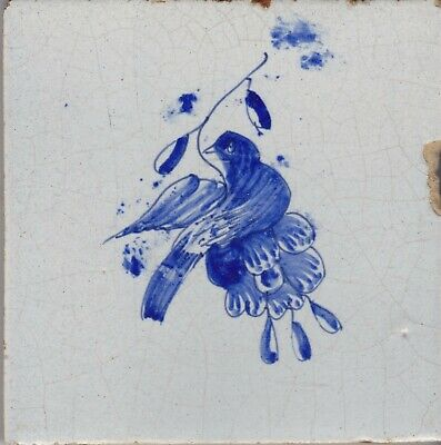 Delft Tile 18th - 19th century   (D 60)  Bird and Flower