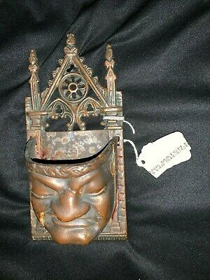 Antique Gothic Monk cast iron match holder wall pocket UNIQUE $140