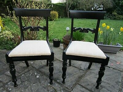 Pair of William IV Chairs Ebonised Finished and Ivory Upholstery