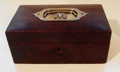 Antique English Victorian Red Leather Clad Jewelry Box with Tray