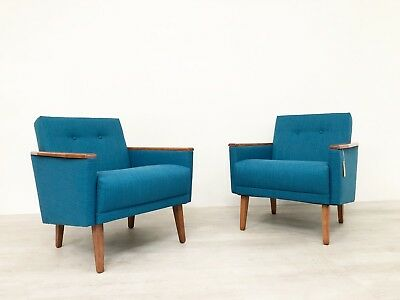 Pair Of Danish Mid Century 50S Inspired Low Back Cocktail Lounge Chair In Teak