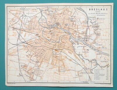 "POLAND Breslau Wroclaw City Town Plan - 1912 MAP 6 x 8"" (15 x 20 cm)"