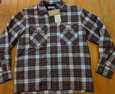 "$550 Mens Burberry Barlow"" Plaid LS Button Up Overshirt Crimson Red Large"