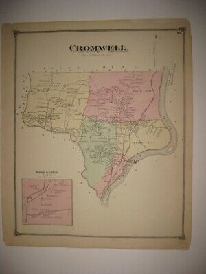 Antique 1874 Cromwell Middletown Middlesex County Connecticut Map Detailed Fine