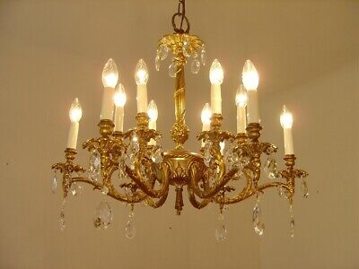 gold bronze crystal chandelier fixtures old ceiling lamp 12 light lustre used