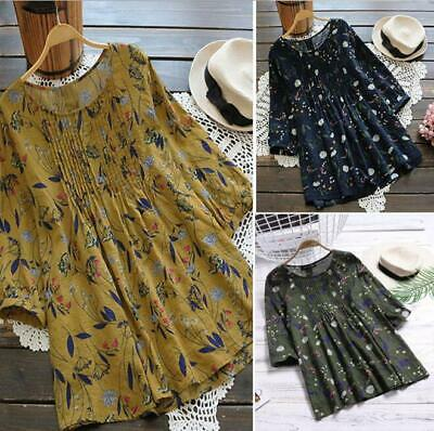 Women's Boho Casual Floral Printed Loose Cotton Linen Tunic Blouse Tops T-Shirts