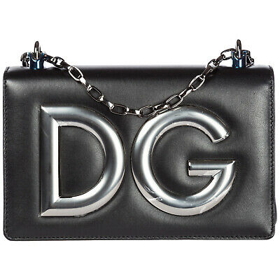 Dolce&Gabbana Women's Leather Shoulder Bag New Original Dg Girls Black 683