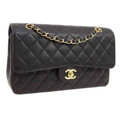 a0cdfe6bf2f2e9 Auth CHANEL Quilted Double Flap Chain Shoulder Bag Black Caviar Leather  AK32529