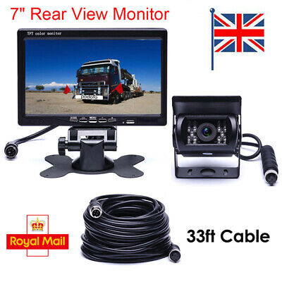 "Car Reversing Camera + 7"" LCD Monitor Truck Bus Van Rear View Kit  12V/24V 10M"